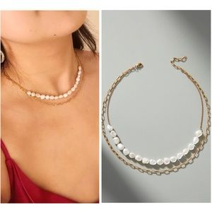 Marlena Pearl and Chain Layered Gold Necklace NWT